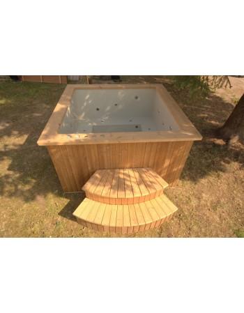 Deluxe badekar 180x180 cm, Rektangulære plast termo træ badekar