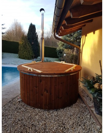 1,82 m Glasfiber hot tub med integrerrede ovn